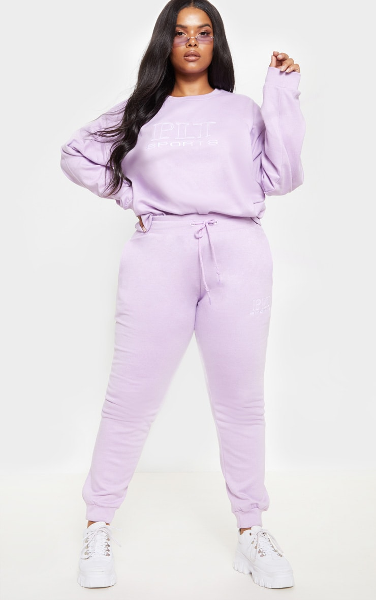 PRETTYLITTLETHING Plus Lilac Embroidered Oversized Sweatshirt 4