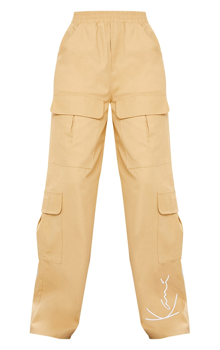 KARL KANI Camel Embroidered Wide Leg Cargo Trousers 5