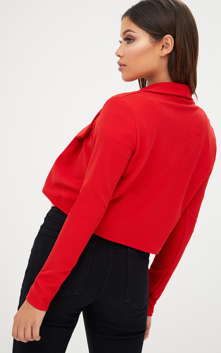Red Cropped Textured Blazer 2