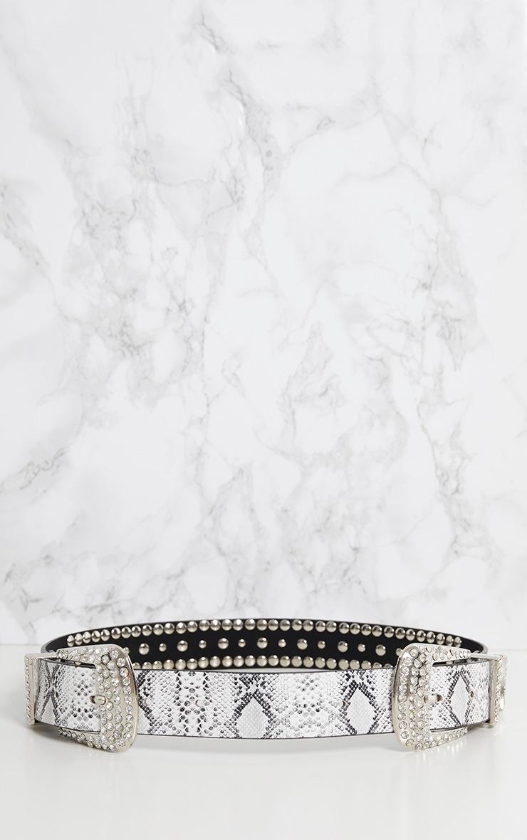Grey Snake Diamante Double Buckle Belt 4