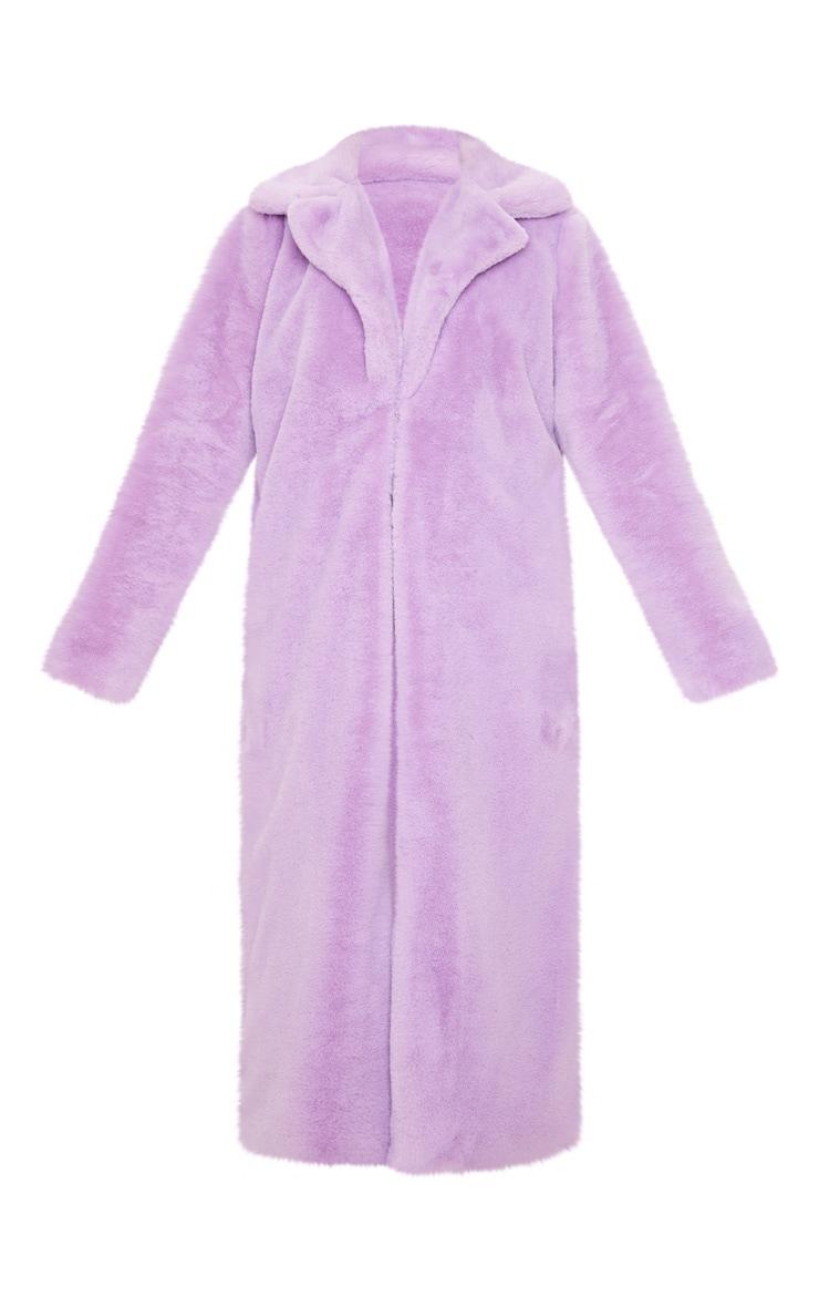 Lilac Maxi Faux Fur Coat 3