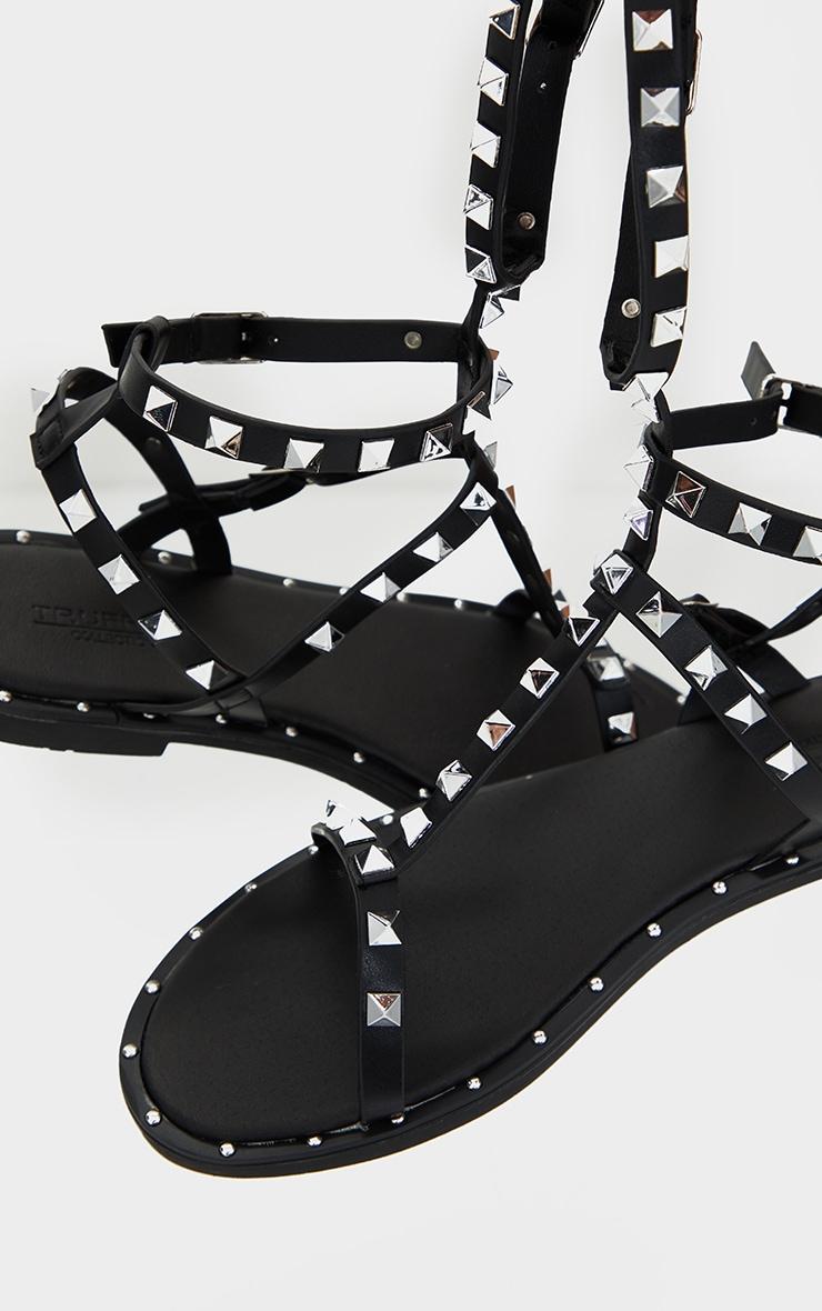 Black PU Studded Gladiator Sandals 3