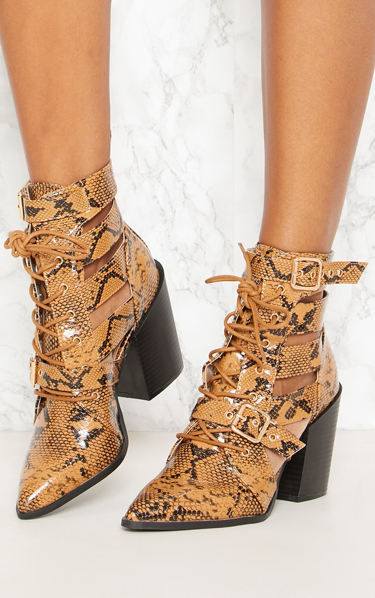 Tan Snake Print Cut Out Heeled Boots 2
