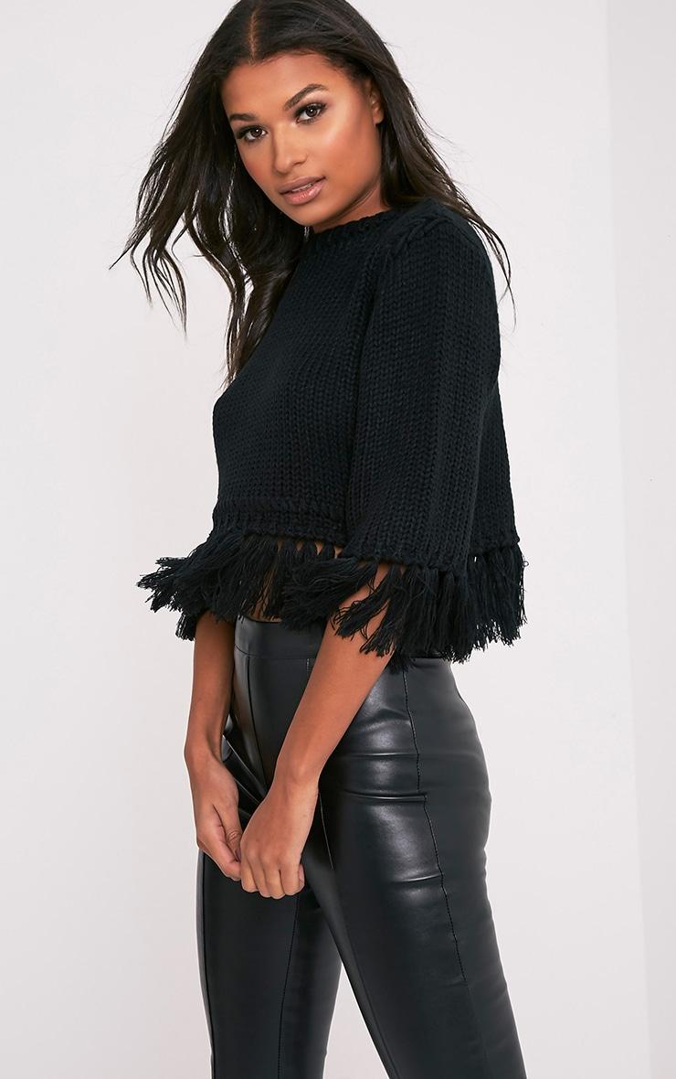 Shelia pull tricoté court à franges noir 4