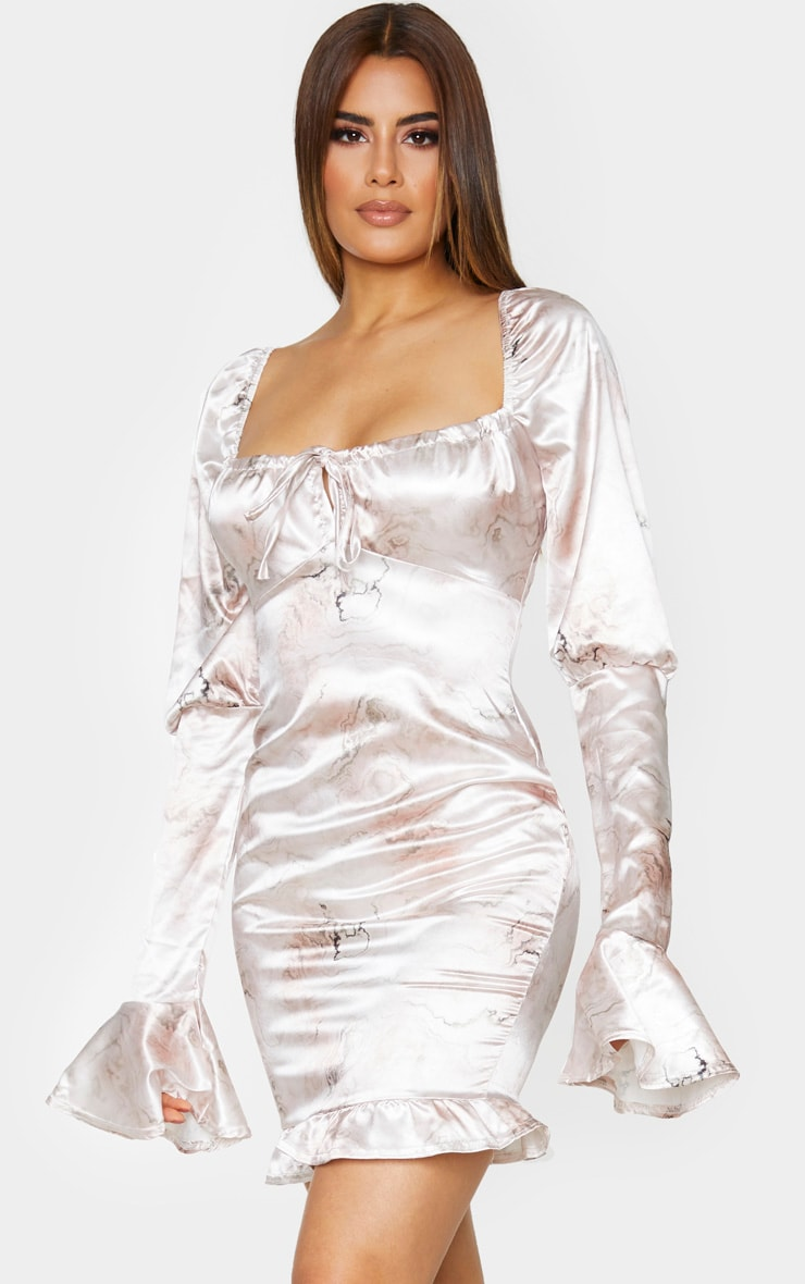 Tall Stone Marble Tie Front Puff Sleeve Satin Dress 1