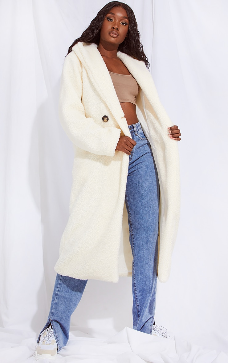 TALL CREAM BORG HOODED MIDI COAT
