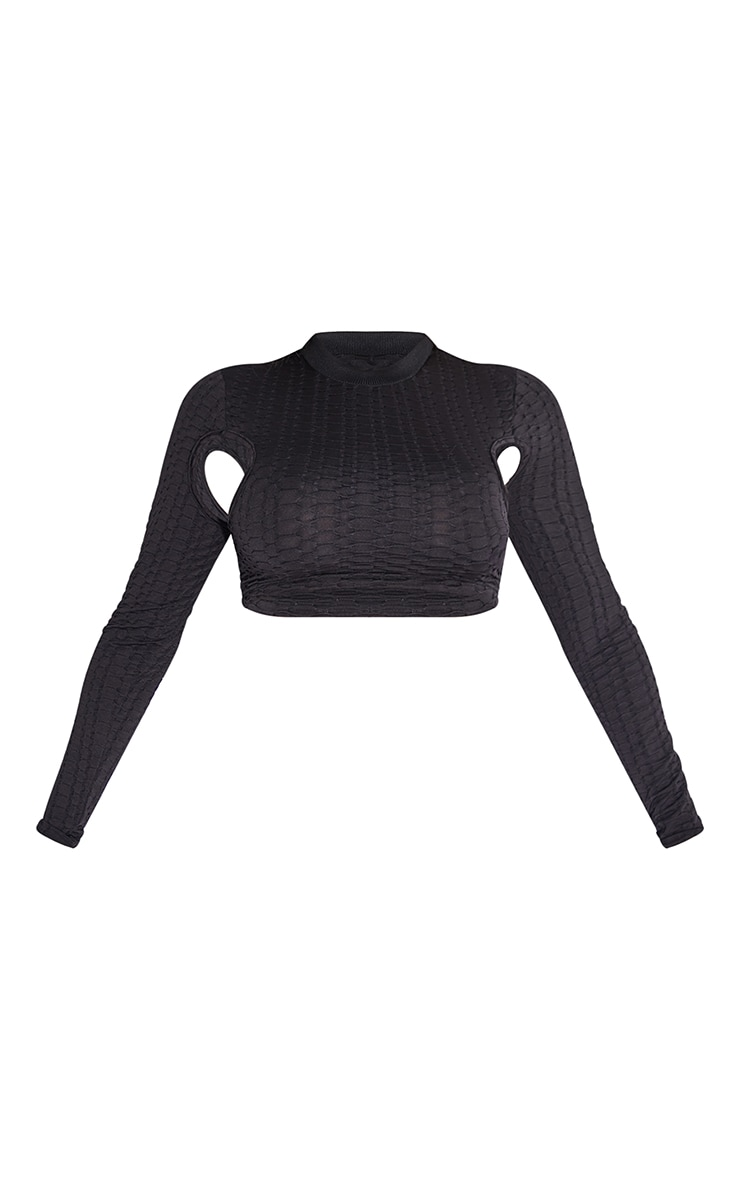 PRETTYLITTLETHING Shape Black Textured Cut Out Gym Top 5