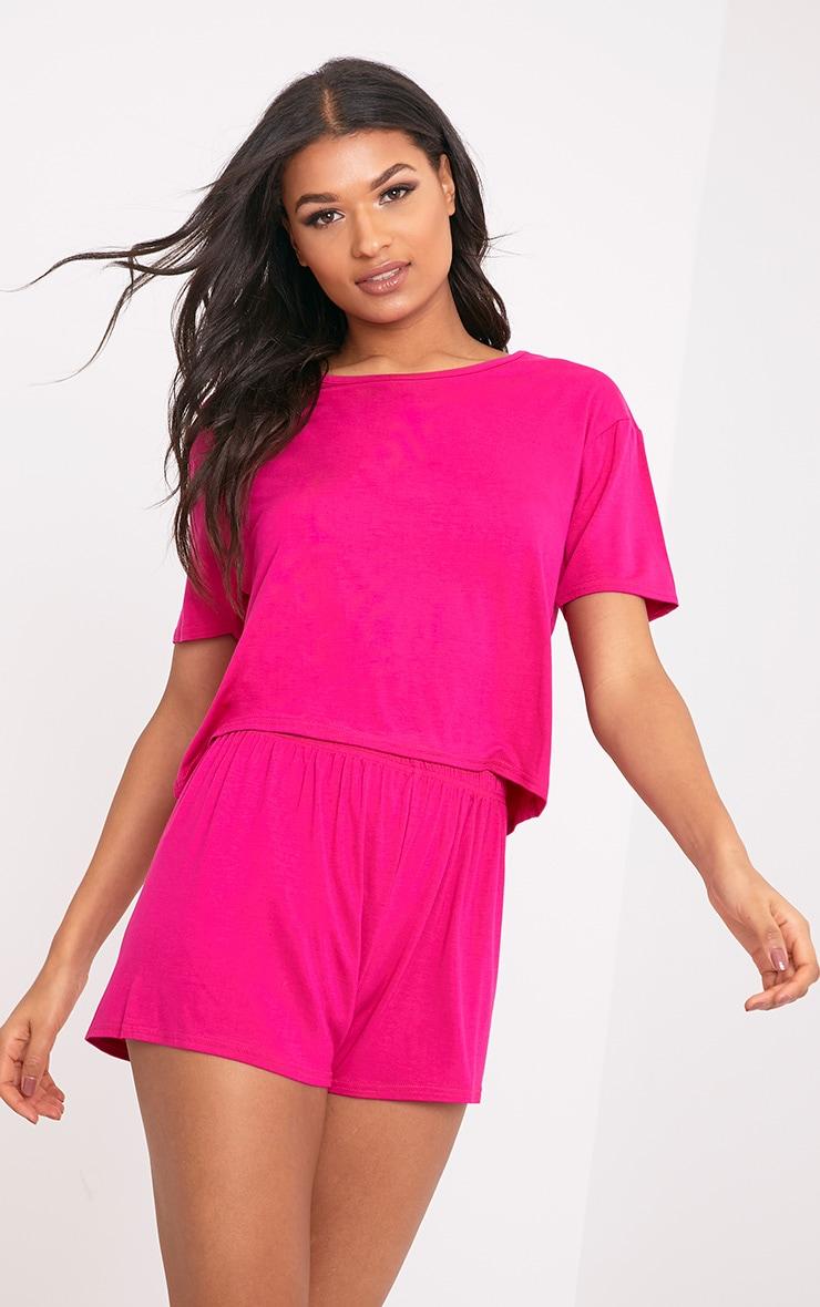 Basic Hot Pink Short Pj Set 1