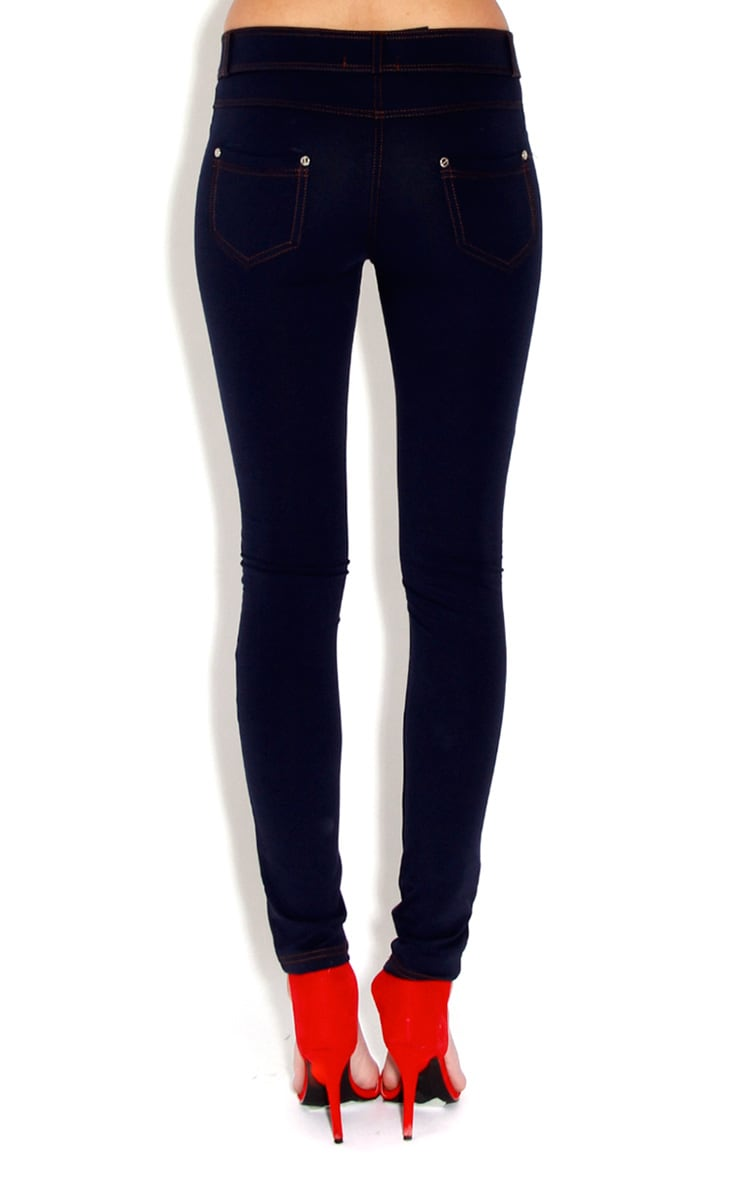 Hattie Dark Blue Denim Look Leggings-10 2