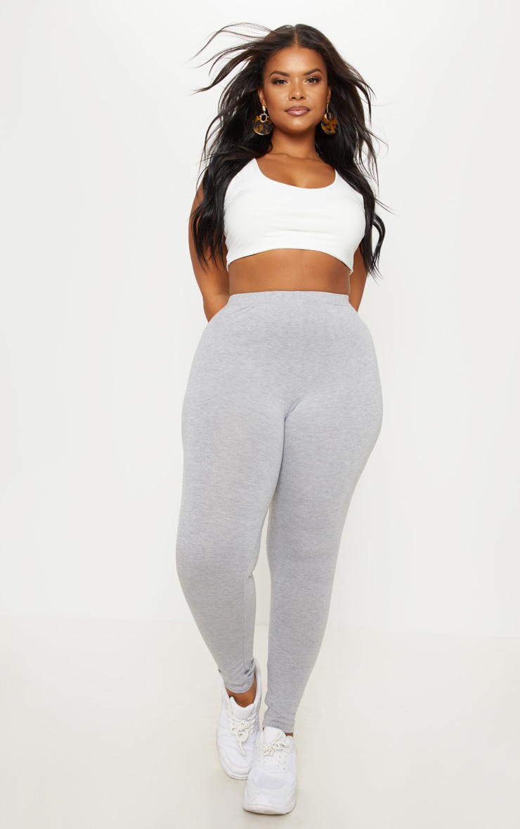 Plus Grey Marl Basic Leggings  5