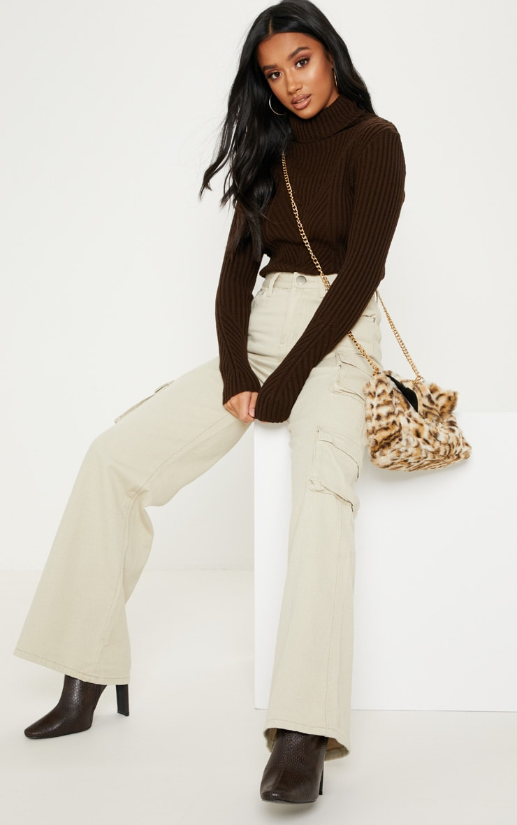Petite Chocolate Brown High Neck Sweater 4