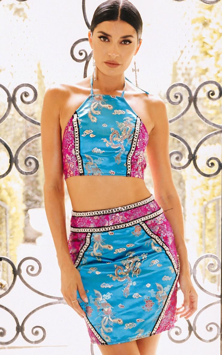 Premium Blue Jacquard Embellished Crop Top 2