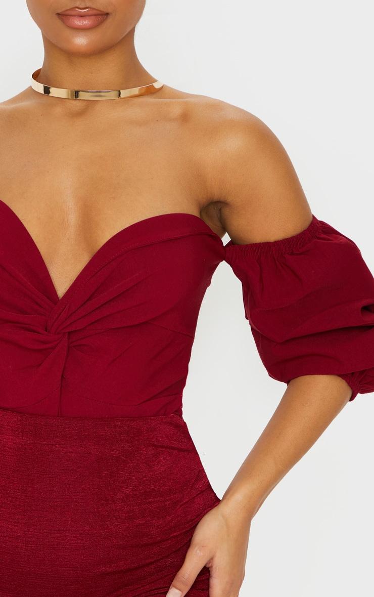 Scarlet Woven Bardot Ruched Bodysuit 6