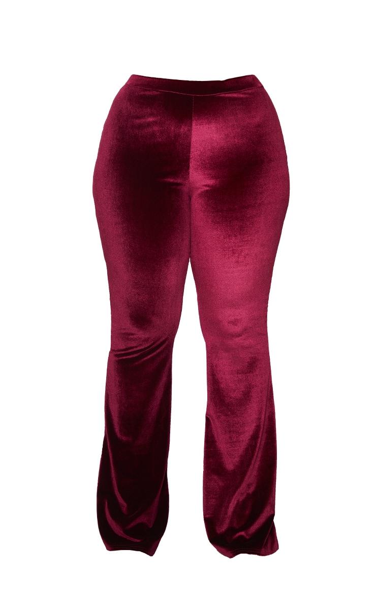 Plus Burgundy Velvet Flared Pants 5