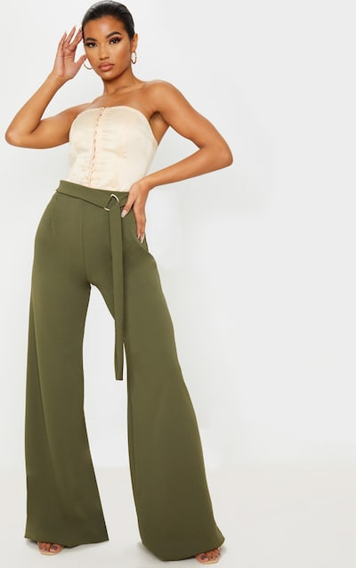 Khaki D Ring Belted Wide Leg Trousers