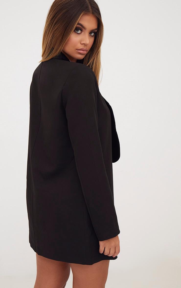 Black Embellished Applique Detail Oversized Blazer 2