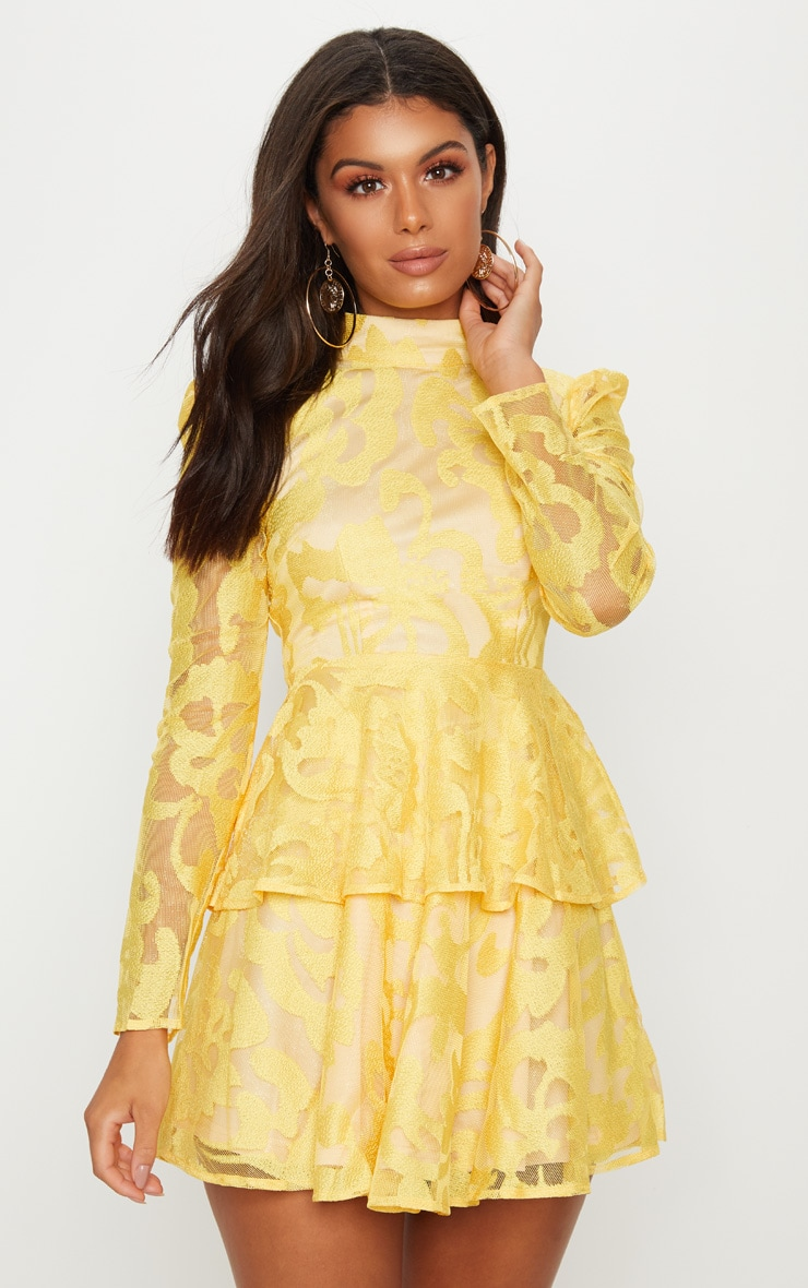 Bright Yellow Lace Tiered Skater Dress