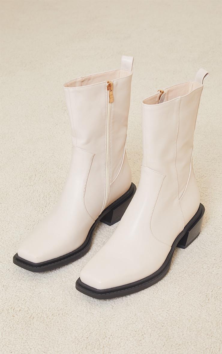 Cream Matte Pu Croc Square Toe Heeled Western Boots 1