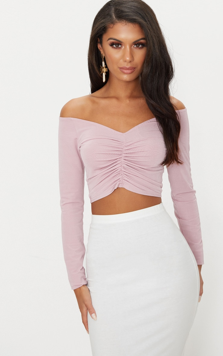 Dusty Pink Slinky Ruched Front Long Sleeve Crop Top  1