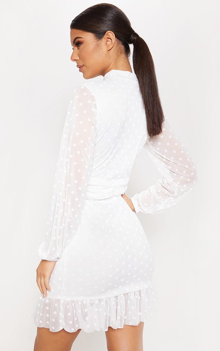 White Mesh Long Sleeve Ruffle Hem Bodycon Dress 2