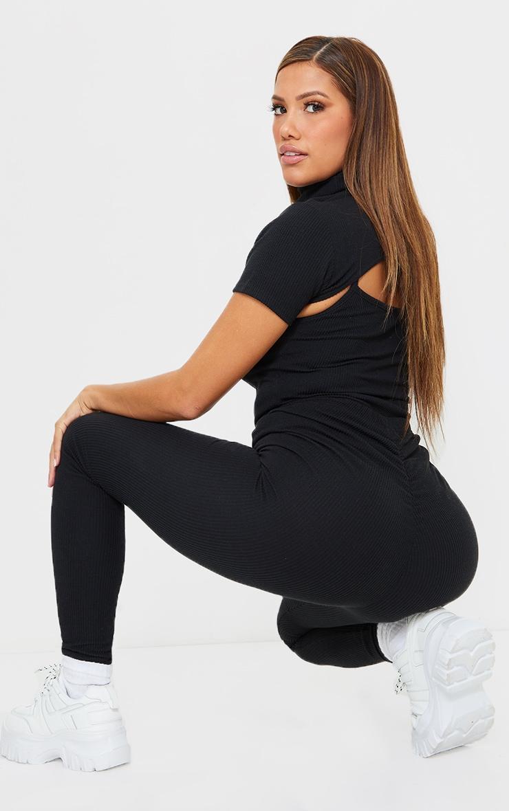 Shape Black Textured Rib Ruched Bum Leggings 1