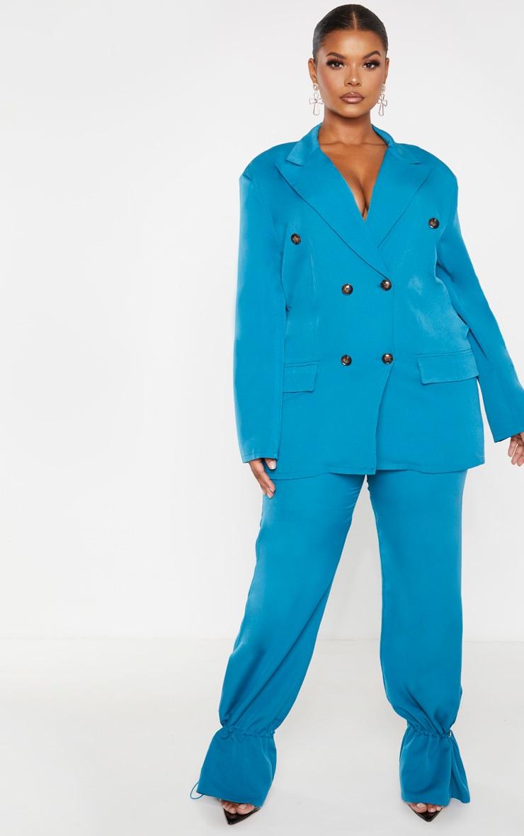 PLT Plus - Pantalon droit en maille tissée bleu sarcelle à bas resserré 1