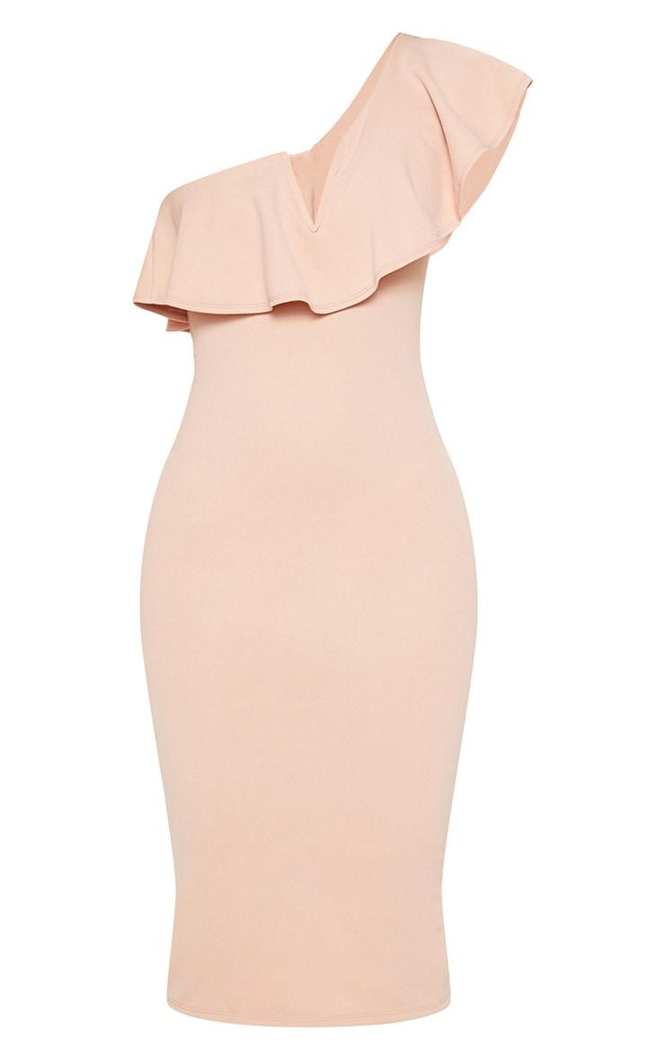 Nude V Bar One Shoulder Midi Dress 3