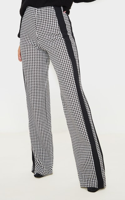 Black Dogtooth Wide Leg Side Stripe Trouser