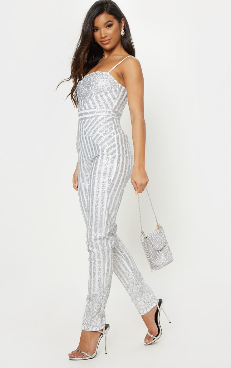 Silver Glitter Striped Strappy Jumpsuit 4