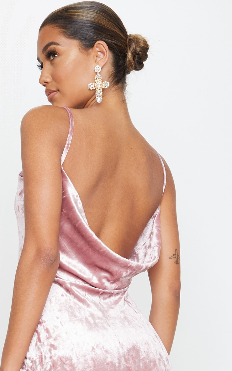 Rose Crushed Velvet Strappy Cowl Back Midi Dress 4