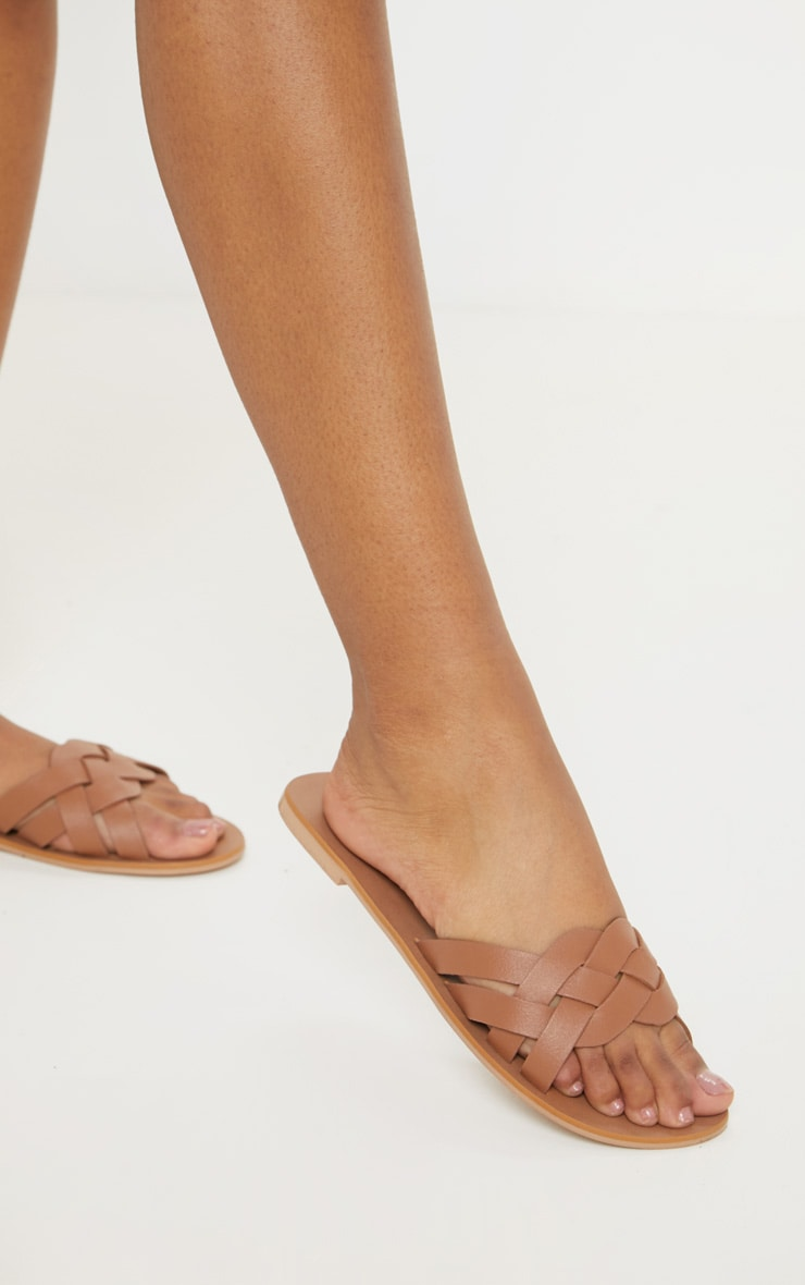 Tan Plaited Mule Sandal 1