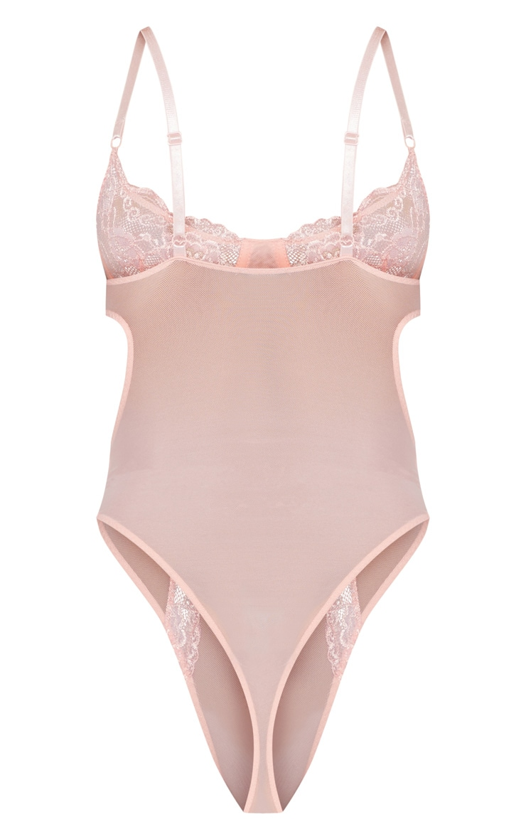 Baby Pink Lace Cup Cut Out High Leg Body  4