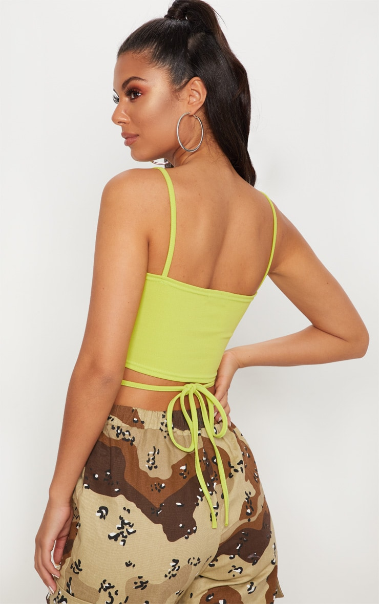 Lime Strap Crop Top 2