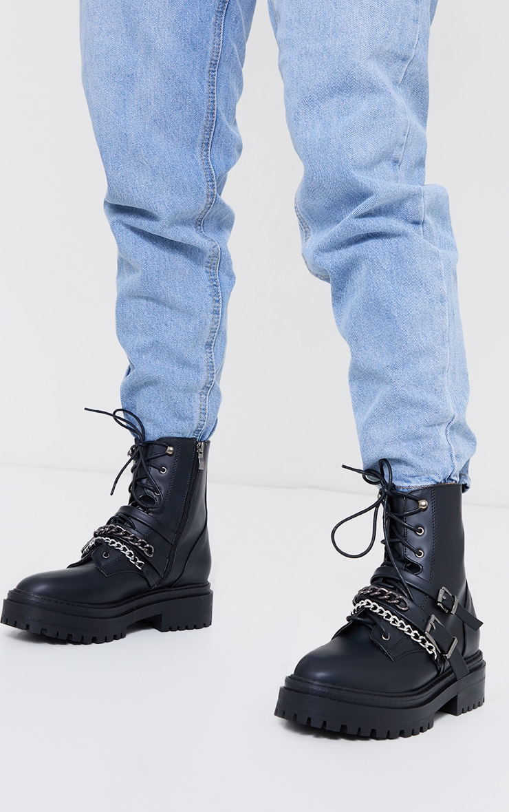 Black PU Chain And Buckle Detail Chunky Boots 2