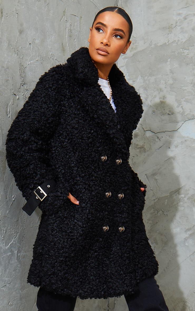 Black Curly Faux Fur Coat 1