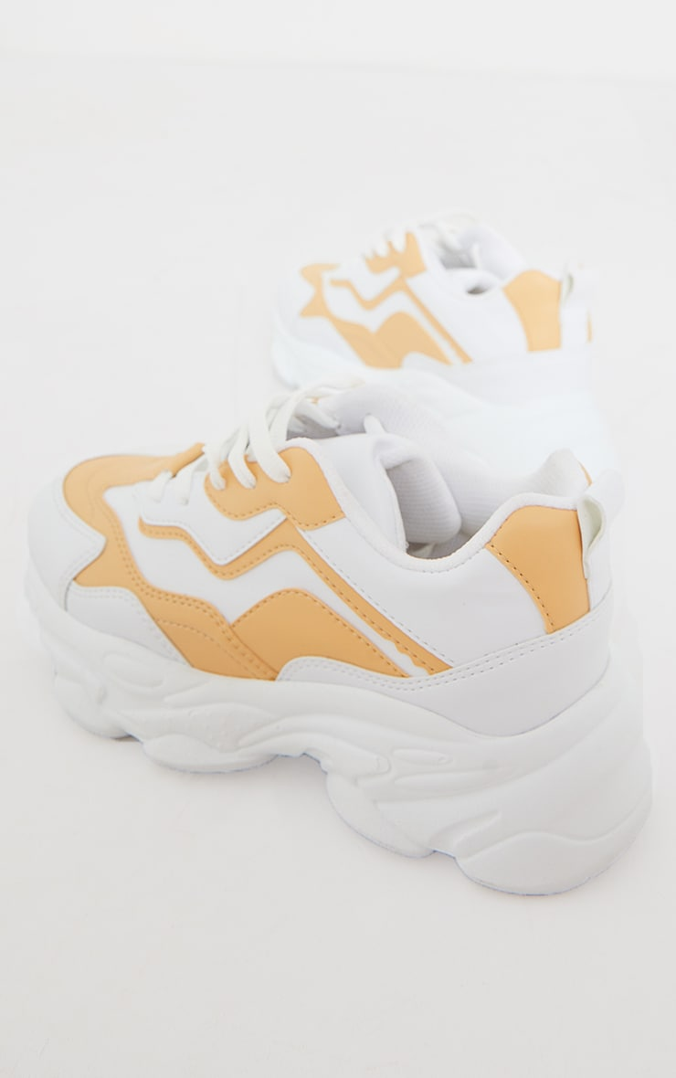 Peach Pu Contrast Mesh Colour Block Bubble Sole Sneakers 4