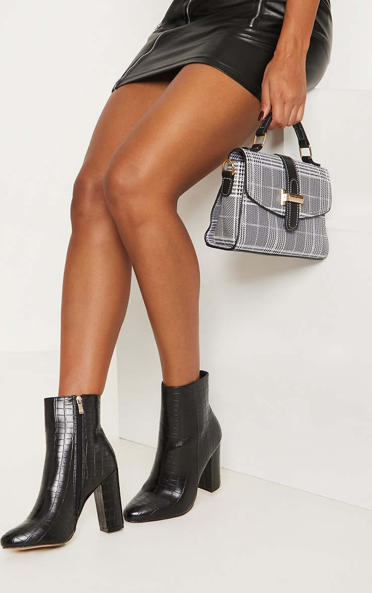 Black Faux Croc Ankle Boot image 1