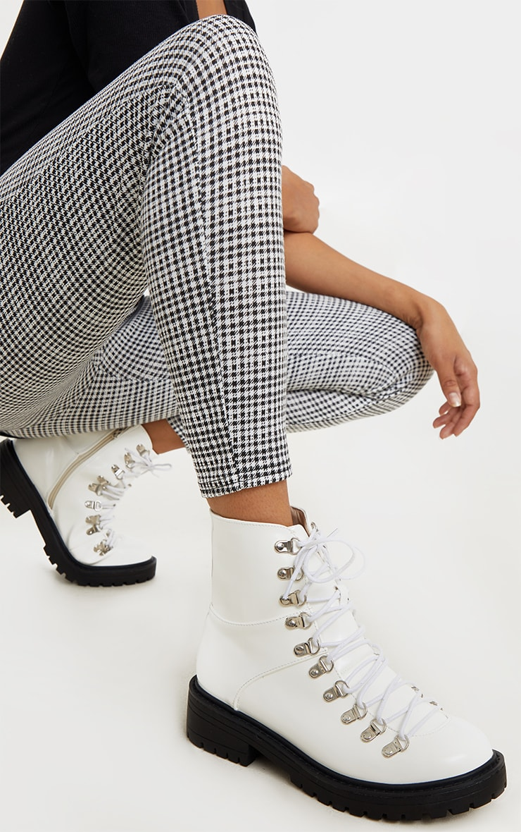White Cleated Sole Hiker Eyelet Ankle Boot 1