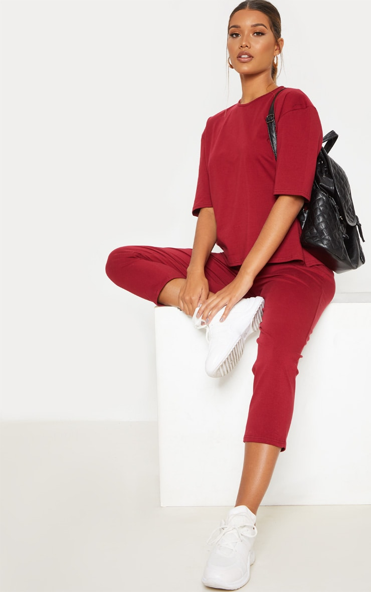 Burgundy Jersey Crew Neck Boxy T Shirt & Trouser Set by Prettylittlething