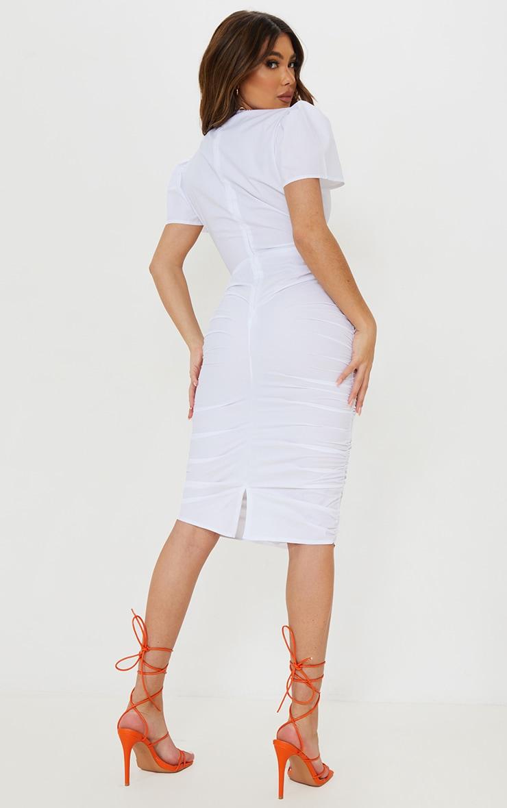 Robe mi-longue manches courtes blanche découpée à jupe froncée et lien frontal 2