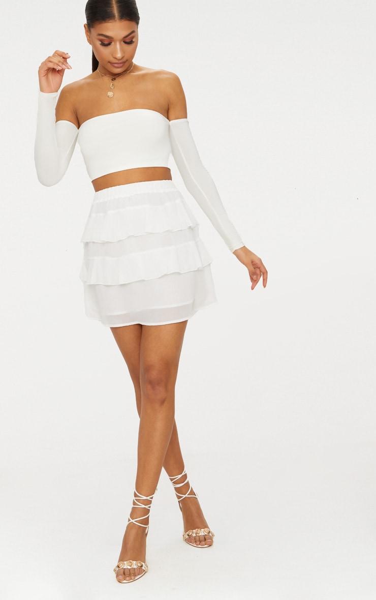 White Chiffon Ruffle Mini Skirt 5
