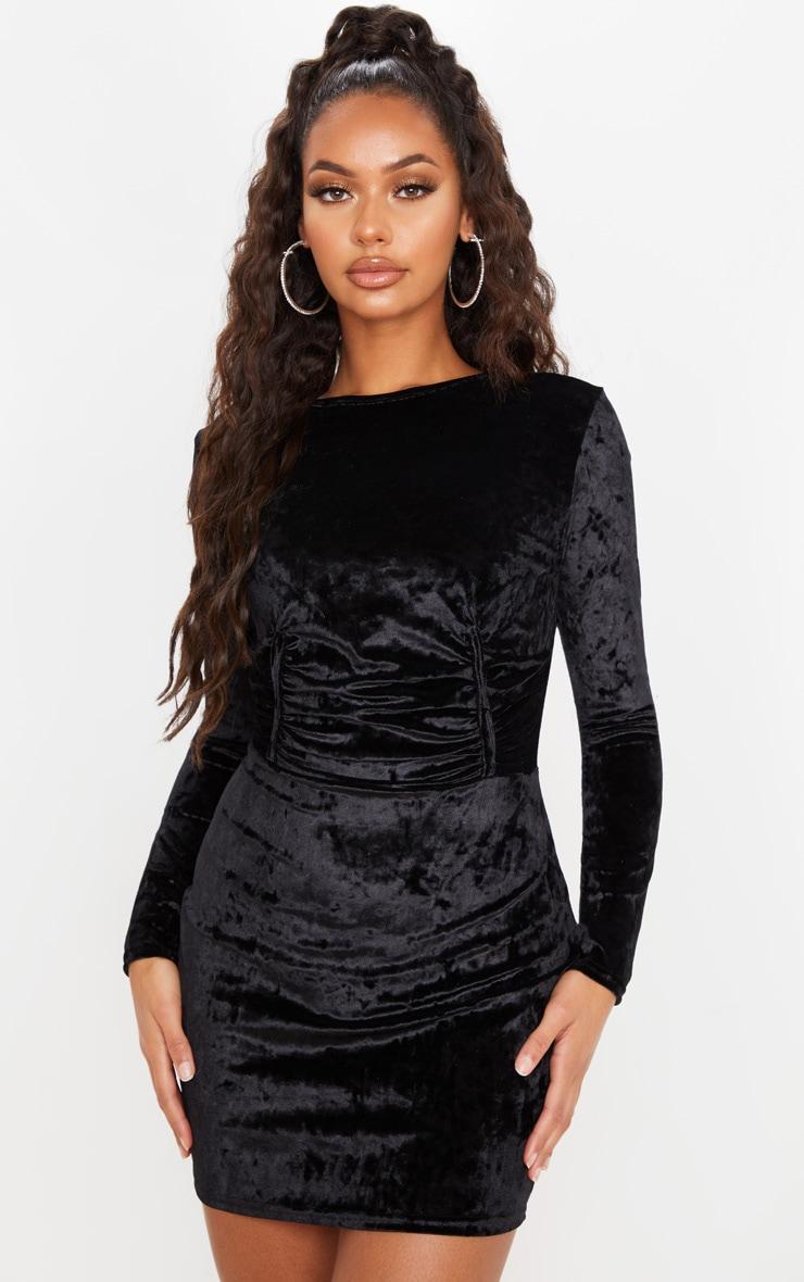 Black Velvet Ruched Binding Detail Long Sleeve Bodycon Dress 1