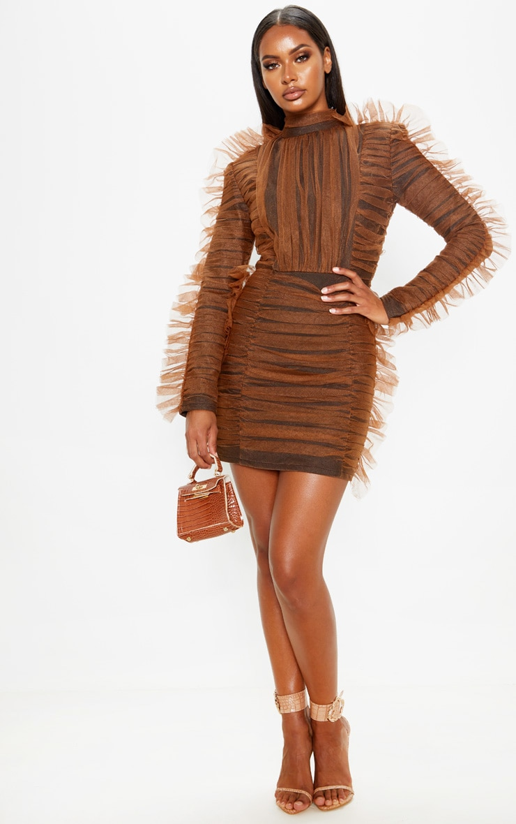 Brown Bandage Chiffon Frill Bodycon Dress 4