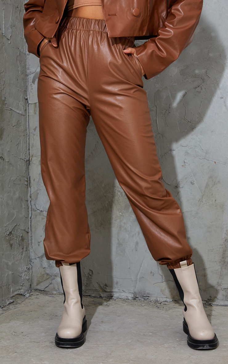 Chocolate Faux Leather Casual Joggers 2