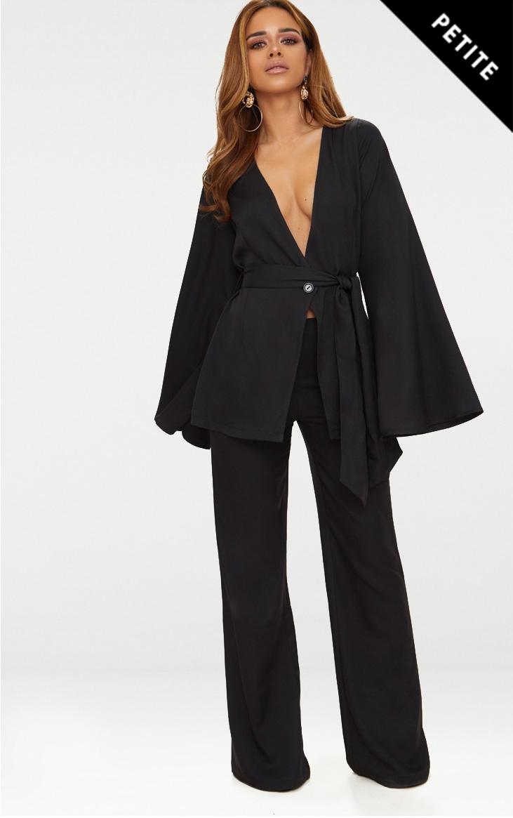 Petite Black Woven Wide Leg Suit Trousers 1