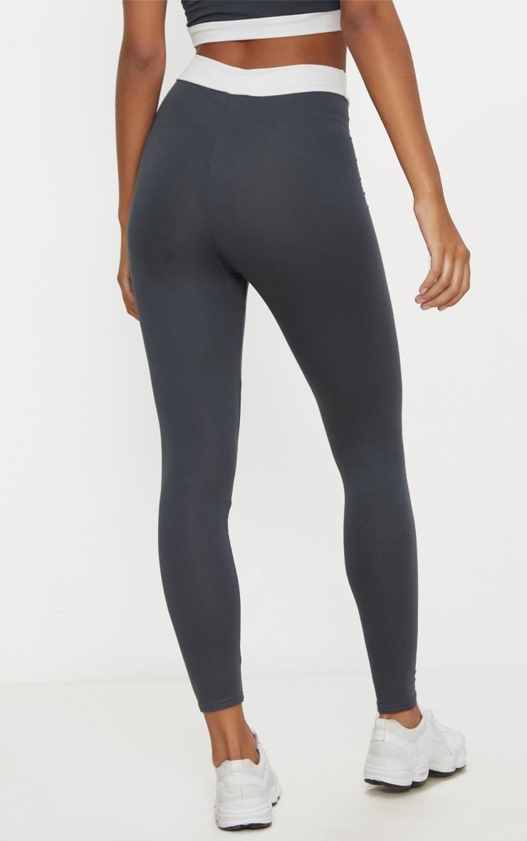 Legging gris anthracite à bande contraste à la taille 4