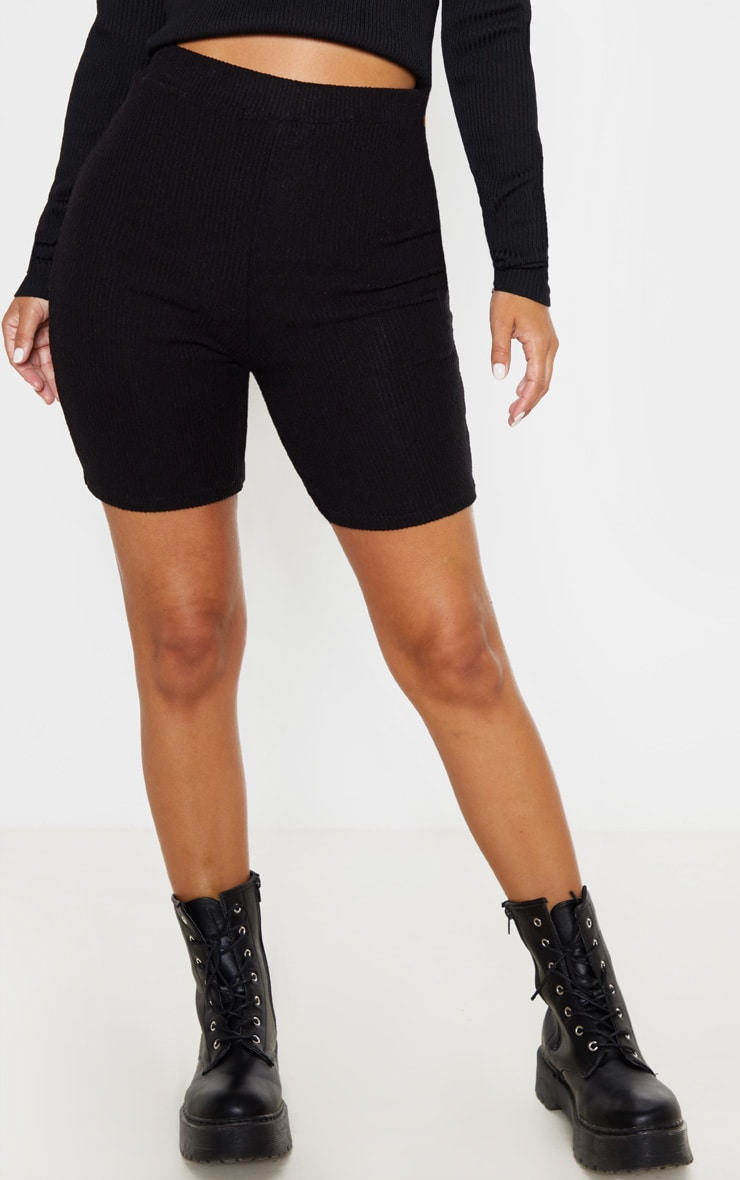 Petite Black Brushed Rib Cycle Short  2