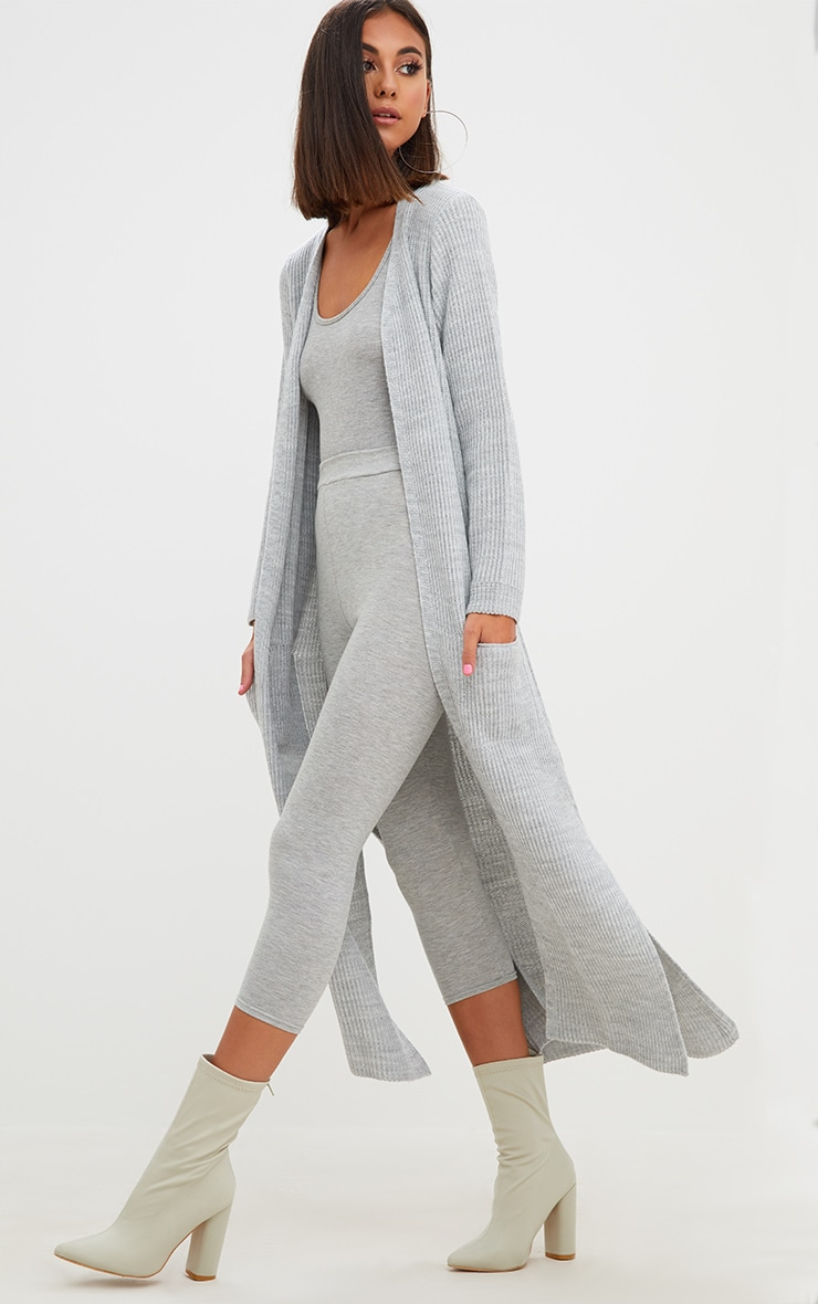 Grey Pocket Front Maxi Cardigan 1