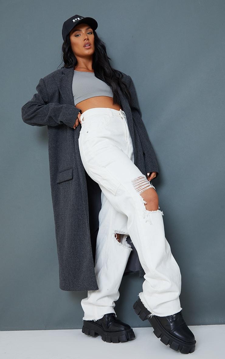Grey Oversized Shoulder Padded Coat 3