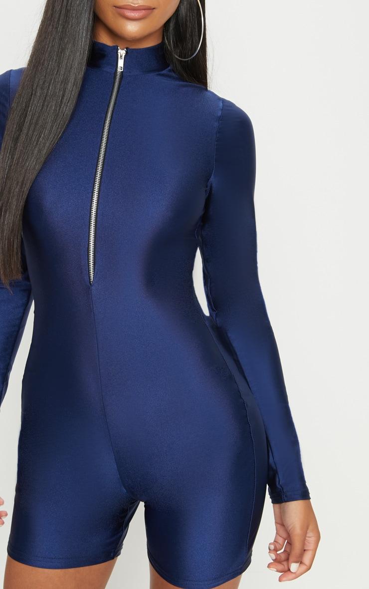 Combinaison disco bleu marine avec col haut, manches longues et zip frontal 5